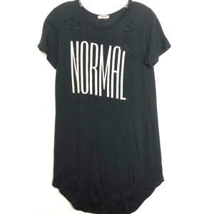 Soft Distressed Black Normal Graphic Long T-Shirt